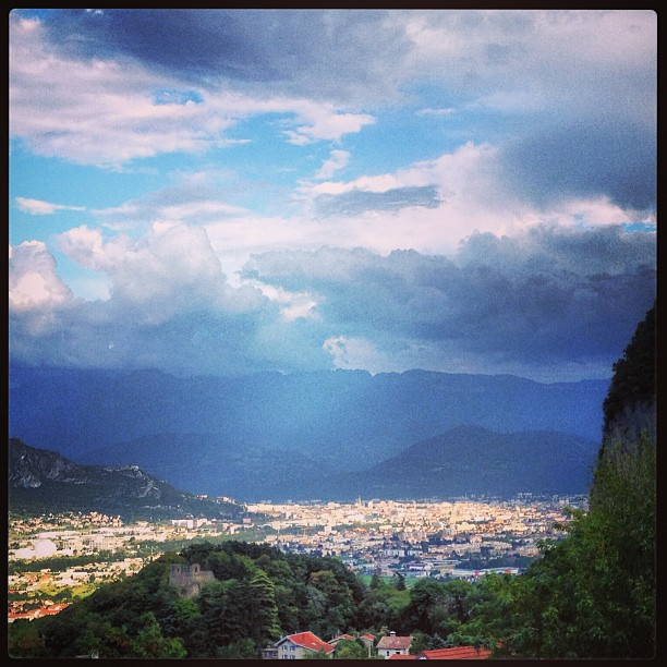 The city of Grenoble, sitting below the Vercors mountains