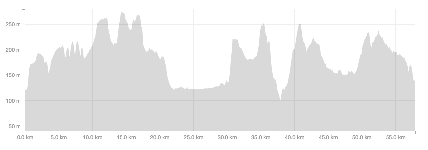 The course profile - or at least the course that I ran so a few extra hills included for good measure