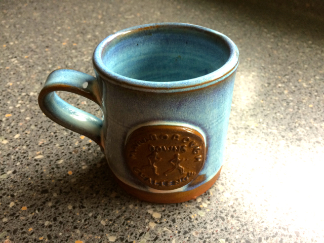 A commemorative mug from the local pottery for all finishers