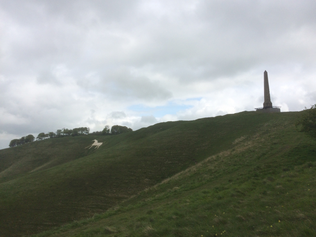 White horse and monument