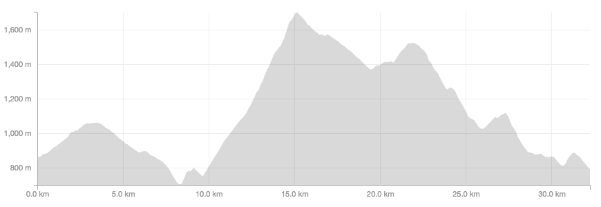 The course profile - around 1,600m of cumulative elevation over 32km of trail