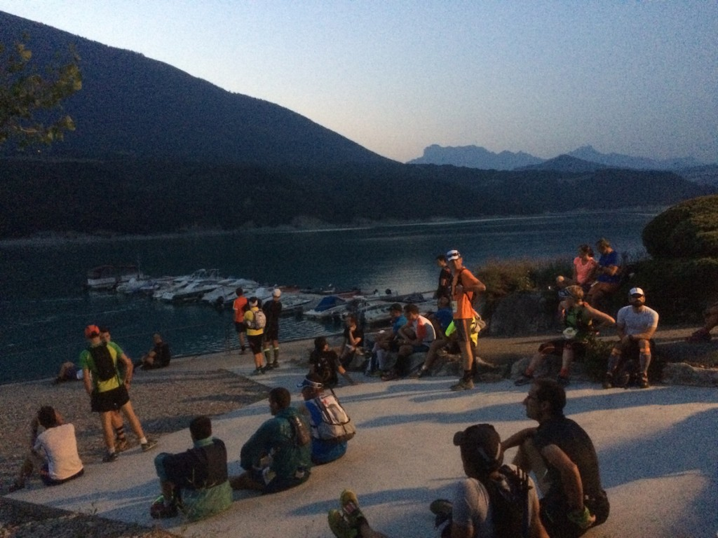 Waiting on the west bank of the lake at Treffort, for the boat to come in and shuttle us across to the start.