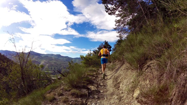 Out of the rocks and into the forest - running along the 'balcons' the race is named for.