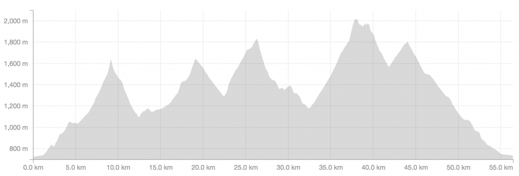The course profile - pretty lumpy with the climbs getting progressively higher.