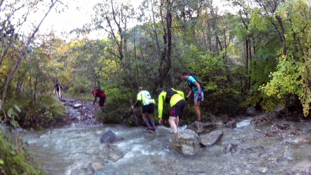 One of the early stream crossings - the guy in yellow fell in shortly after this picture was taken - after that we all decided it was pointless trying to keep our feet dry